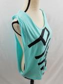 Pink Victorias Secret Womens XS Aqua Blue Cut Off Sleeveless T Shirt Tank Top