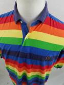VTG Tommy Hilfiger Mens L Rainbow Striped Colorblock Polo Shirt Rugby Gay Pride