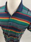 Paul & Shark Yachting Mens L Navy Green Striped Polo Shirt Color Block VTG