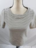 Talbots Womens Sp PS White Black Striped Boat Neck Scoop Zipper Back Knit Top