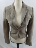 LOGG H&M 1 Button Tweed Herringbone Womens 2 XS Shrug Blazer Suit Jacket